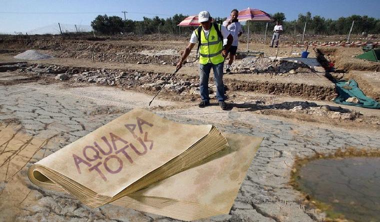 La sequía del Ebro deja al descubierto la primera pancarta murciana a favor del trasvase