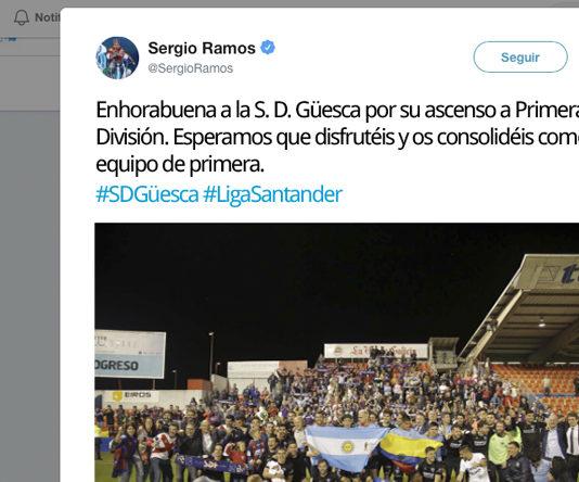 """Sergio Ramos felicita al """"Güesca"""" por su ascenso a Primera Divisón"""