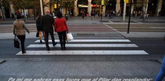 El Ayuntamiento de Zaragoza incluye frases de jotas en los pasos de cebra