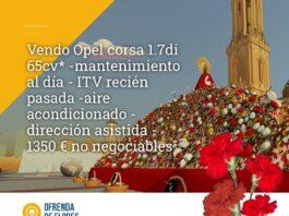 Un usuario de la Ofrenda de Flores Virtual utiliza la web para anunciar que vende su Opel Corsa a buen precio