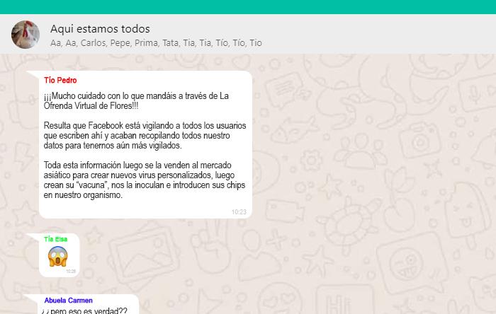 Un mensaje de tu tío en el grupo familiar de WhatsApp advierte de que a través dela Ofrenda deVirtual Flores Facebook se queda con los datos personales de los oferentes.